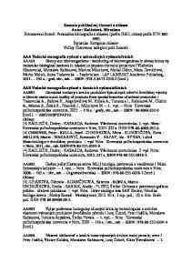 Zoznam publikačnej činnosti a ohlasov Autor: Kačániová, Miroslava AAA Vedecké monografie vydané v zahraničných vydavateľstvách