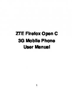 ZTE Firefox Open C 3G Mobile Phone User Manual