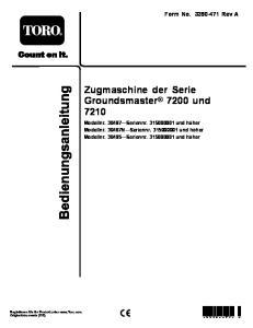 Zugmaschine der Serie Groundsmaster 7200 und 7210