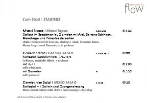 Zum Start I STARTERS. Alle Preise sind inklusive MwSt. I All prices are including VAT