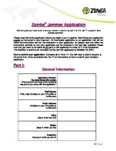 Zumba Jammer Application