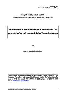 Zunehmende Schattenwirtschaft in Deutschland: eine wirtschafts- und staatspolitische Herausforderung