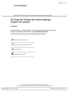 Zur Frage der Embolie Bei Hysterosalpingo- Graphie mit Lipiodol