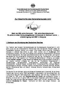 Zur Geschichte des Generalkonsulats Izmir
