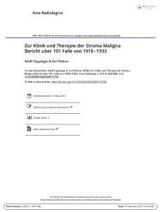 Zur Klinik und Therapie der Struma Maligna Bericht uber 101 Falle von