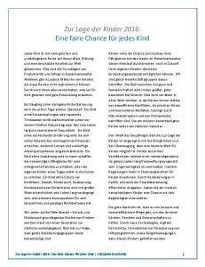 Zur Lage der Kinder 2016: Eine faire Chance für jedes Kind