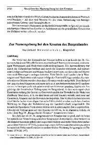 Zur Namengebung bei den Kroaten des Burgenlandes