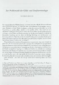 Zur Problematik der Gilde- und Zunftterminologie