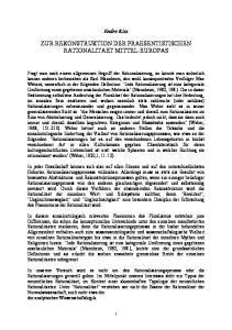 ZUR REKONSTRUKTION DER PRAESENTISTISCHEN RATIONALITAET MITTEL-EUROPAS
