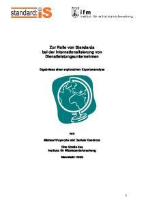 Zur Rolle von Standards bei der Internationalisierung von Dienstleistungsunternehmen