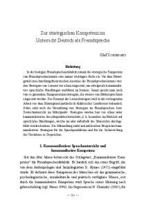 Zur strategischen Kompetenz im Unterricht Deutsch als Fremdsprache