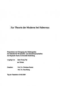 Zur Theorie der Moderne bei Habermas