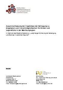 Zusammenfassung der Ergebnisse der Befragung zu Angeboten und Freizeitmöglichkeiten für Kinder und Jugendliche in der Wartburgregion