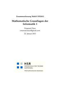 Zusammenfassung Math1I HS2012 Mathematische Grundlagen der Informatik 1