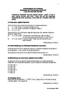 Zusatzaufgaben zur Vorlesung Grundlagen der Theoretischen Informatik h_da, FB Informatik, SS 2009