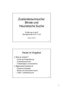 Zustandsraumsuche: Blinde und Heuristische Suche. Blinde und Heuristische Suche