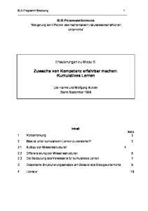 Zuwachs von Kompetenz erfahrbar machen: Kumulatives Lernen