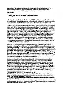 Zwangsarbeit in Speyer 1939 bis 1945