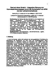 Zwei auf einen Streich Integrative Planung von Kommissionierprozessen durch die Kombination von MTM und der Leitmerkmalmethode